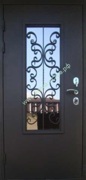 стальные двери со стеклом и кованной решеткой